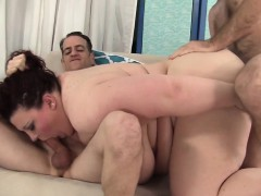 Bbw Beauty Fucked In Threesome Action