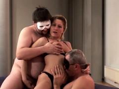 Hot Blonde Anja Enjoys Pounding By Two Hard Dicks