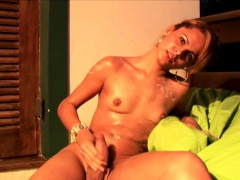 Pretty Face Shemale Lotions Her Body And Tugs Thick Shemeat