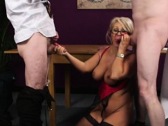flirty-honey-gets-cum-shot-on-her-face-eating-all-the-cum