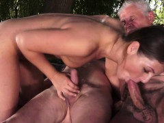 Euro Teen Creampied In Threesome With Old Men