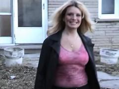 Big tit chubby girlfriend striptease outdoors