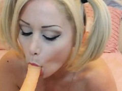 big titted blonde plays with her toy