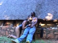 blindfolded african babe sucking stiff cock outdoors