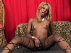 Black Stockinged Tgirl Toys Ass While Tugging