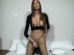 Gorgeous Transsexual Tugs Her Hard Cock