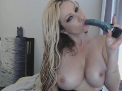 extremely big titted milf on high heels masturbates