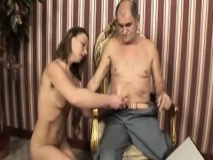 Handicapped Old Guy Gets Head From Brunette Teen