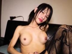 Pantyhose Ladyboy Solo Rubbing Her Meaty Cock