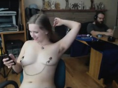attractive blonde musician bitch gets nude on cam
