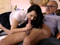 mouth jizzed woman blows
