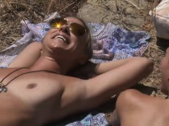 two super sweet cougars went on nudist trail for tanning