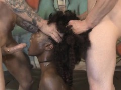 Black Ghetto Slut Zo Lala Getting Roughed Up By White Guys