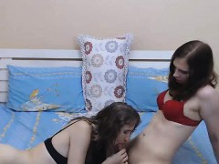 Horny Trannies In A Playful Blowjob Session