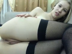 Blonde In A Bra Stockings And Panties Masturbating