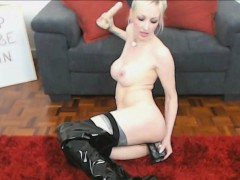 German Blonde In Leather Stockings Toying