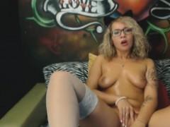 amazing-nerdy-blonde-bunny-in-stockings-masturbates