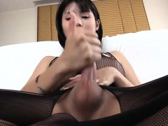 Asian Ts In Crotchless Bodysuit Blowjobs And Masturbates