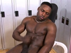Black Solo Stallion Stroking His Cock