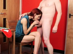 redhead cfnm slut gently sucking cock