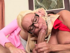 Facial Threesome For Old And Young Woman