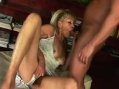 Blonde Granny Gets Hairy Cunt Pounded By Stud