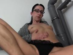 brunette mature masturbates in glasses Hot