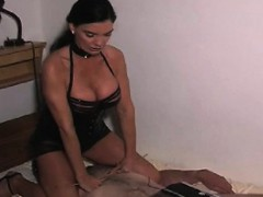 nasty female-dom ties up slave's balls and whips arse bloody
