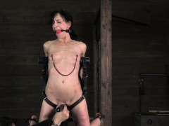 hogtied slave pussy toyed during anal training
