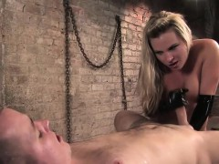 blonde-mistress-tied-up-her-cocked-slave