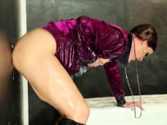 glam milf drenched with jizz at the gloryhole