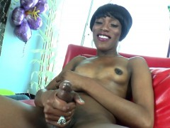 Natural Black Tgirl Milks Her Cock Solo
