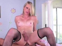 Blonde Tgirl Nikki Vicious Rides Cock In Reverse Cowgirl