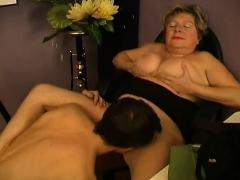Boy Licks Hairy Granny's Pussy