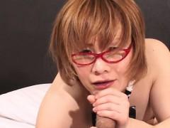 Newhalf Schoolgirl Gets Cum On Glasses!