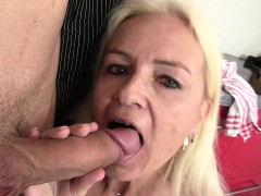 Guy Pounds Blonde Mom At The Kitchen