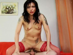 sexy-chick-in-red-stockings-eating-and-riding