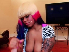 big titted ebony handjob and titjob