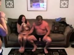 Teen with mature couple at home