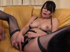 Horny Japanese Gets Juicy With Large Dildo, Fingering Pussy