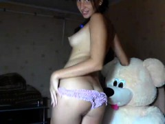 gorgeous brunette squirting on panties on webcam WWW.ONSEXO.COM