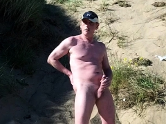 Naked Exhibitionist On The Beach