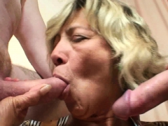 Old Woman Takes Two Dicks From Both Sides