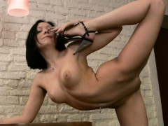 Blackhaired Gymnast In Fishnet Making You Hard