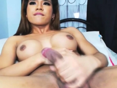 Lovely Shemale Babe Jerking Her Cock So Hard