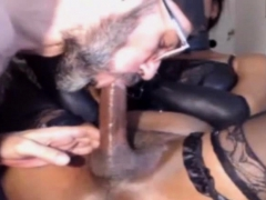 Tied Ebony Shemale Got Jerked And Sucked By Older Dude