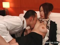 stockinged-asian-flight-attender-gets-tits-licked