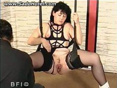 Tied Slave With Her Legs Spread Is Fucked With A Large