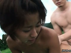 Outdoor Threesome With A Skinny Japanese Part3