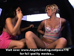 Brunette Lesbian And Cute Hitchhiker Kissing And Licking